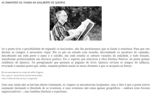 Ementa do artigo de Gabriel Santamaria sobre Destino Palavra